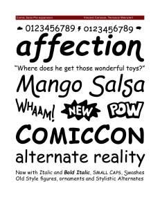 Comic Sans Pro Font Specimen