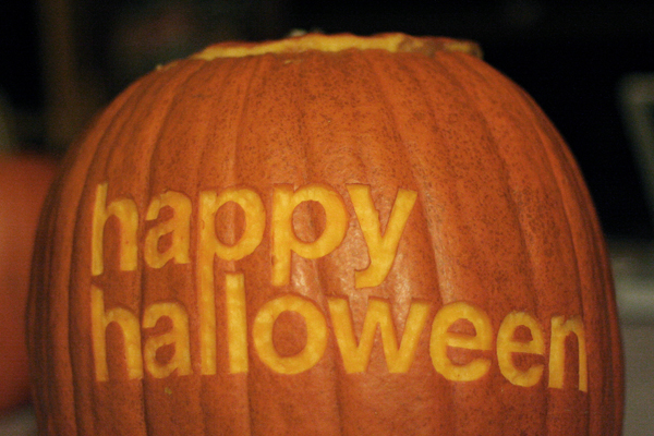 Pixel & Pilcrow || Happy Halloween || Graphic Design Halloween || Helvetica pumpkin carving